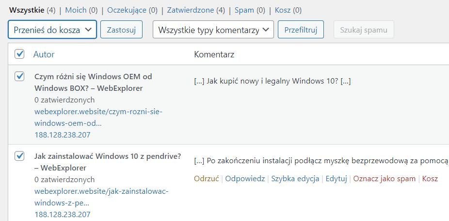 Jak usunąć wszystkie komentarze WordPress?