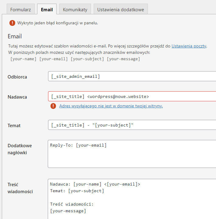 W zakładce email formularza Contact Form 7 możesz dodać informacje o treści wiadomości przesyłanej do Ciebie