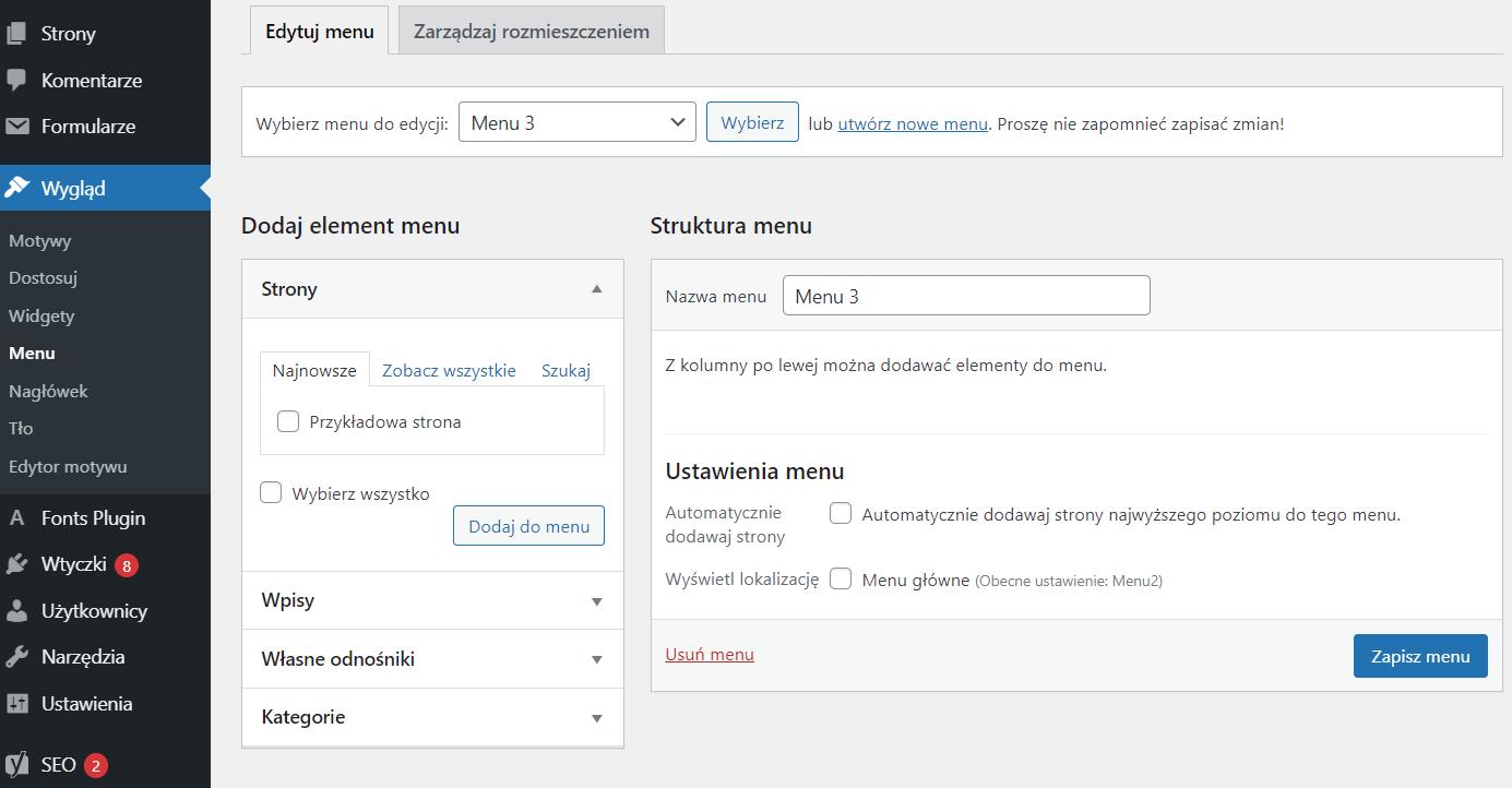 Jak dodać stronę / wpis do menu WordPress?