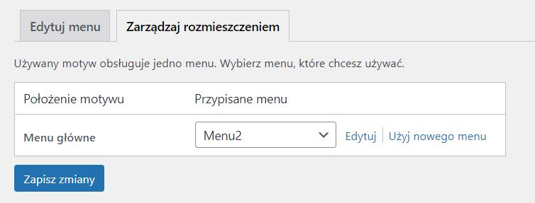 Możesz ustanowić wybrane przez Ciebie menu głównym paskiem nawigacji