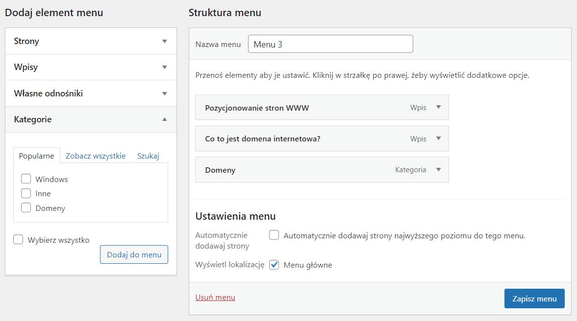 Dodawaj wpisy, strony, kategorie i własne adresy URL do menu WordPress