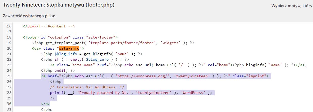 Zaznacz fragment kodu pliku footer.php i usuń go