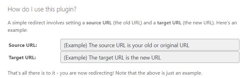 Podaj adres URL (Source) który chcesz przekierować na nowy adres (Target)