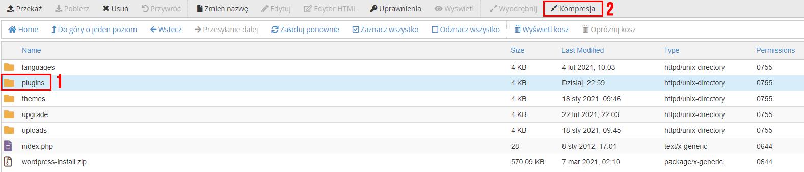 Zaznacz plik i kliknij opcję: Kompresja w Menadżerze plików cPanel