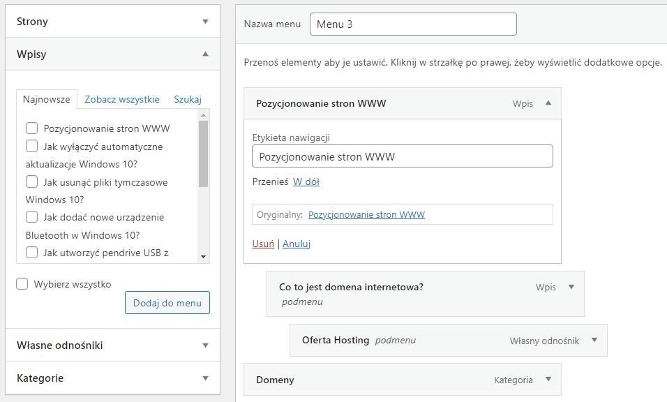 Dodawaj strony i wpisy nadając im unikalne nazwy w strukturze menu WordPress
