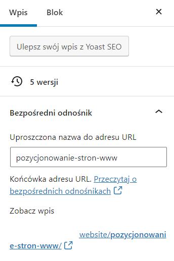 Edytuj adres URL wpisu zmieniając jego uproszczoną nazwę URL na własną