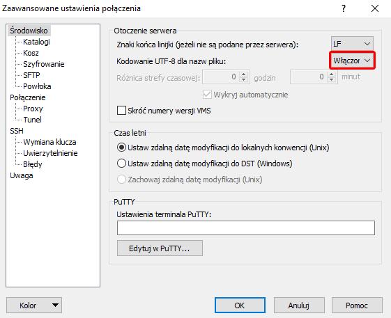 Zmiana kodowania nazw plików na UTF-8 w WinSCP