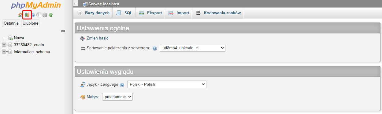 Kliknij przycisk: Wyloguj, aby zakończyć pracę z phpMyAdmin