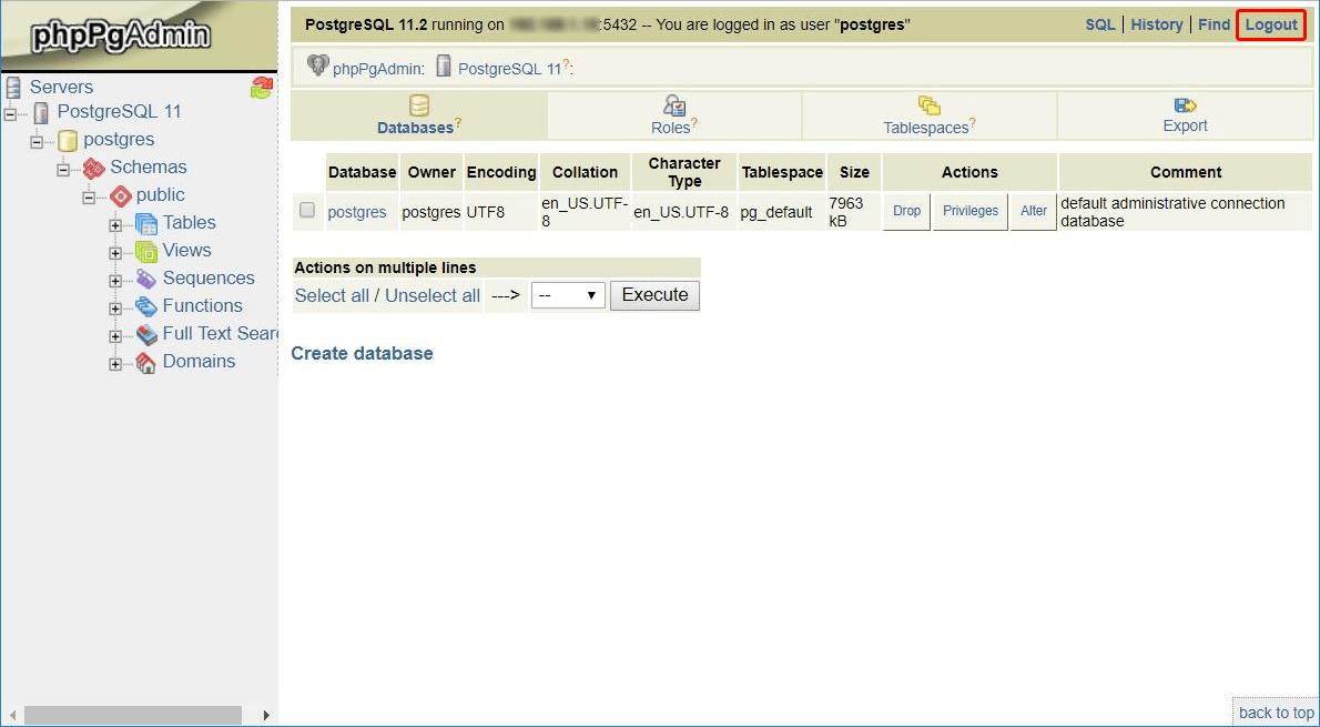 Kliknij przycisk: Wyloguj (ang. Logout) w prawym górnym rogu, aby zakończyć pracę w phpPgAdmin