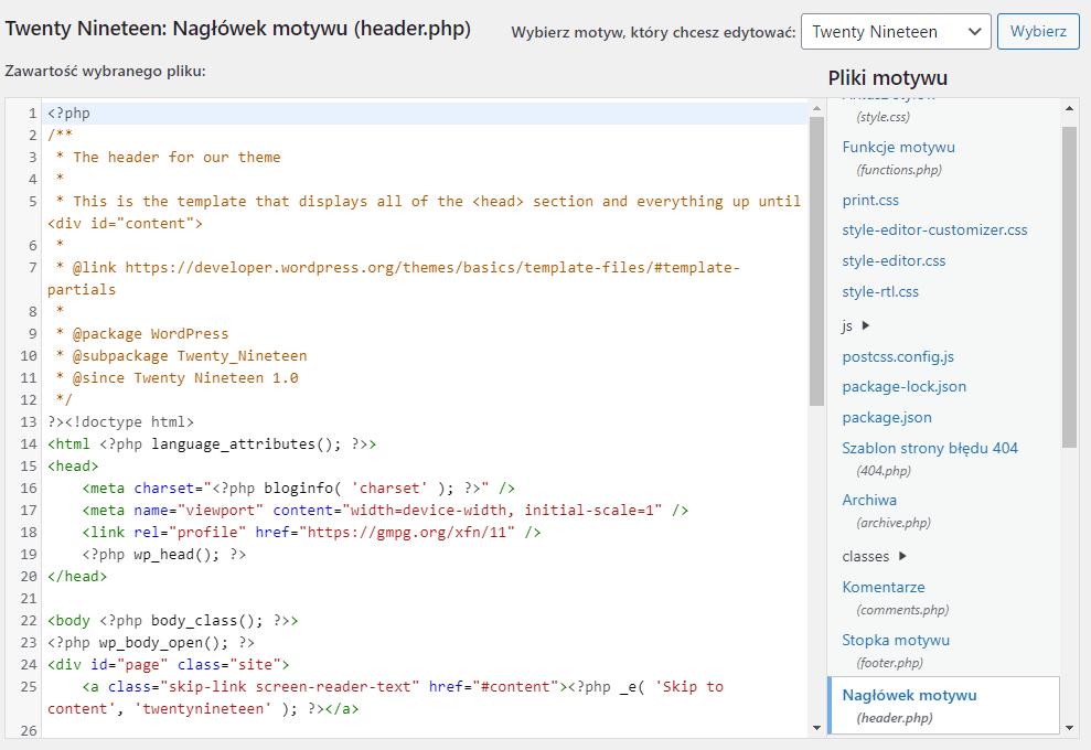 W edytorze motywu możesz dokonać pełnej edycji kodu strony i szablonu WordPress