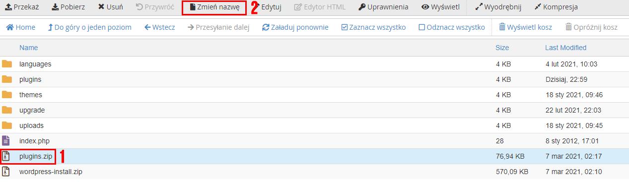 Zaznacz plik i kliknij opcję: Zmień nazwę w menadżerze plików cPanel