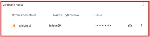 Sprawdzane zapisanego hasła w przeglądarce internetowej