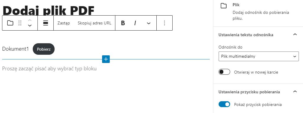 Podaj nazwę pliku, nazwij też przycisk Pobierania i udostępni plik PDF użytkownikom