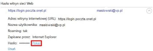 Zapisane hasło w Internet Explorer