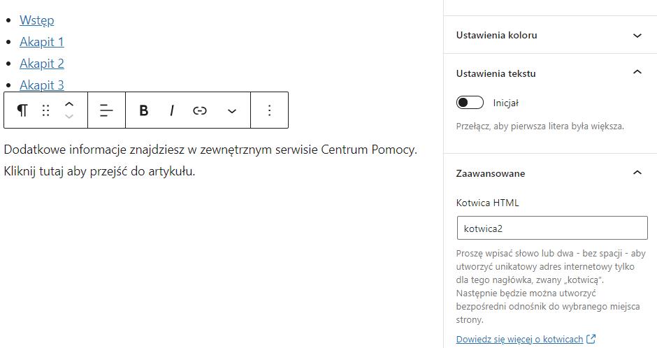 Dodawanie kotwic do wstawionych bloków pozwala na szybkie przeniesienie użytkownika w wybrane miejsce wpisu