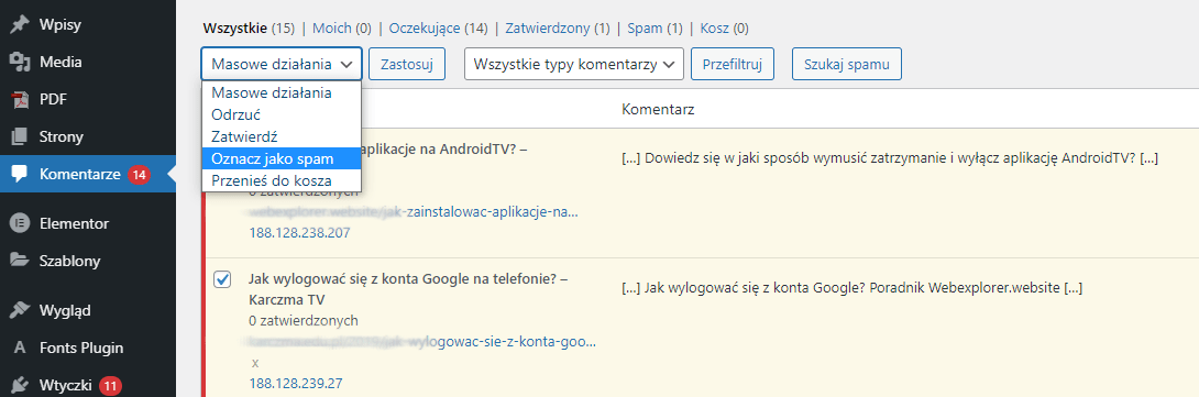 W widoku listy komentarzy możesz wykonywać działania masowe, np. oznaczać wszystkie komentarze jako SPAM