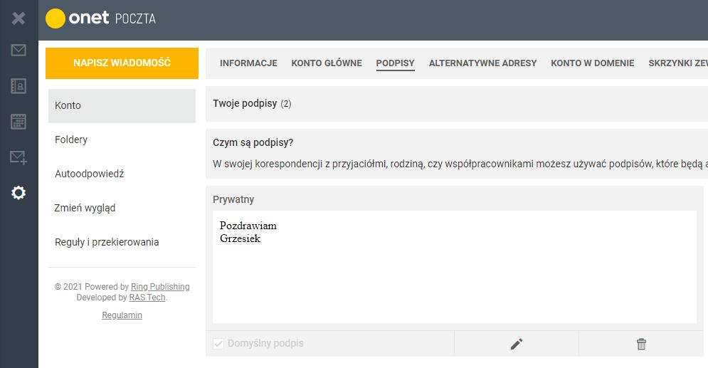 Jak dodać automatyczny podpis w Onet Poczta?