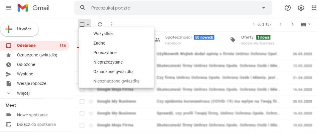 Usuwanie wiadomości email w poczcie Gmail