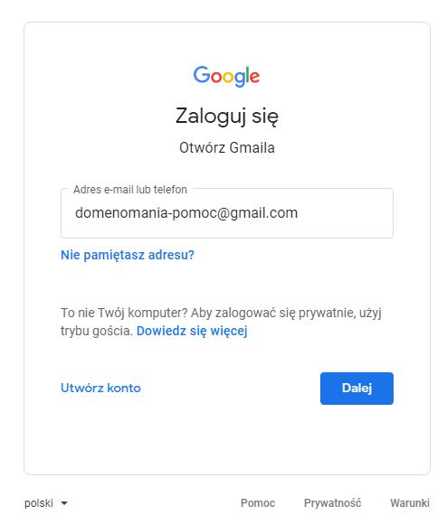 Logowanie do poczty Google - Gmail