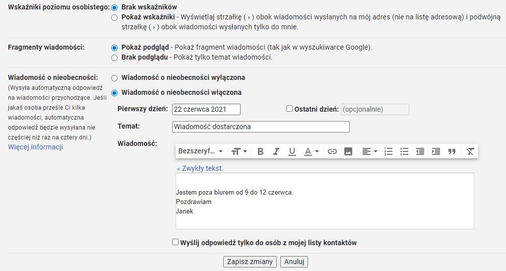 W ustawieniach konta Gmail znajdziesz m.in. informacje na temat autorespondera