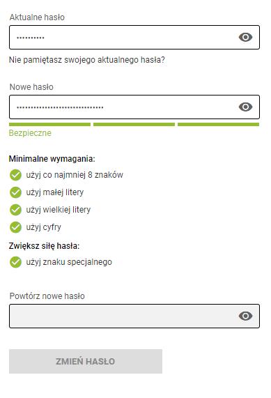 Zmiana hasła w panelu konta wymaga podania dotychczas ustawionego hasła dostępu