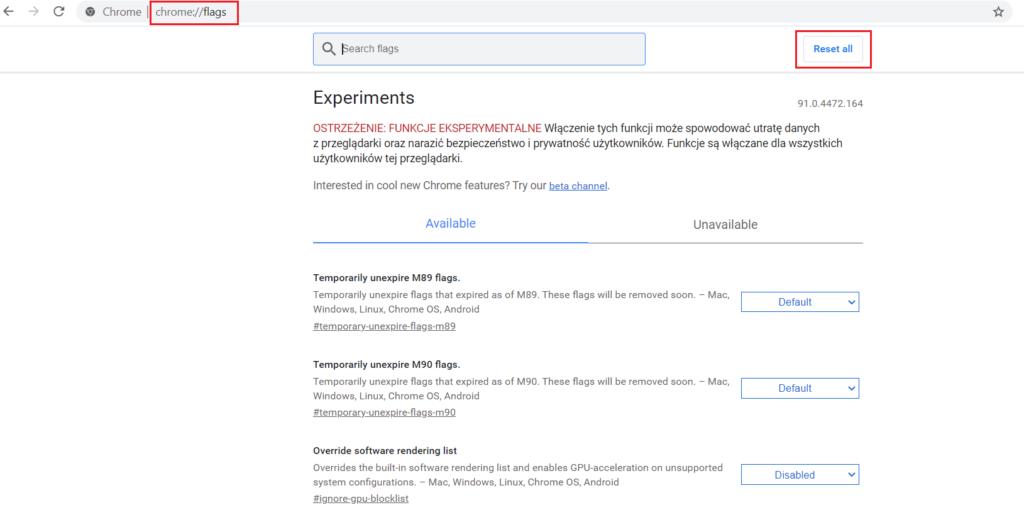 Jak zresetować flagi w Google Chrome?
