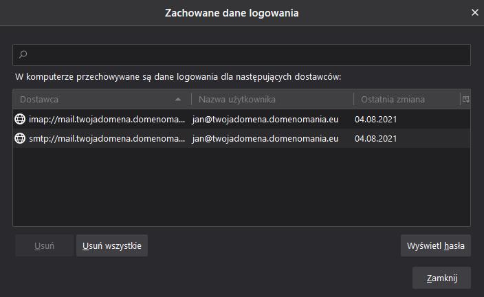Zmień hasło do kont e-mail w programie Thunderbird