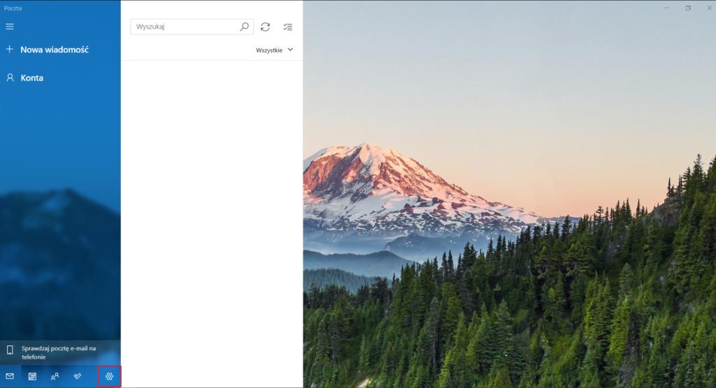 Aby dodać skrzynkę e-mail w aplikacji Poczta w Windows 10 wejdź w ustawienia.