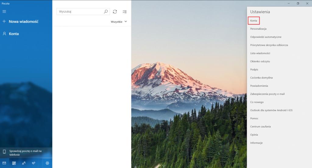 Dodawanie nowego konta w aplikacji Poczta w Windows 10