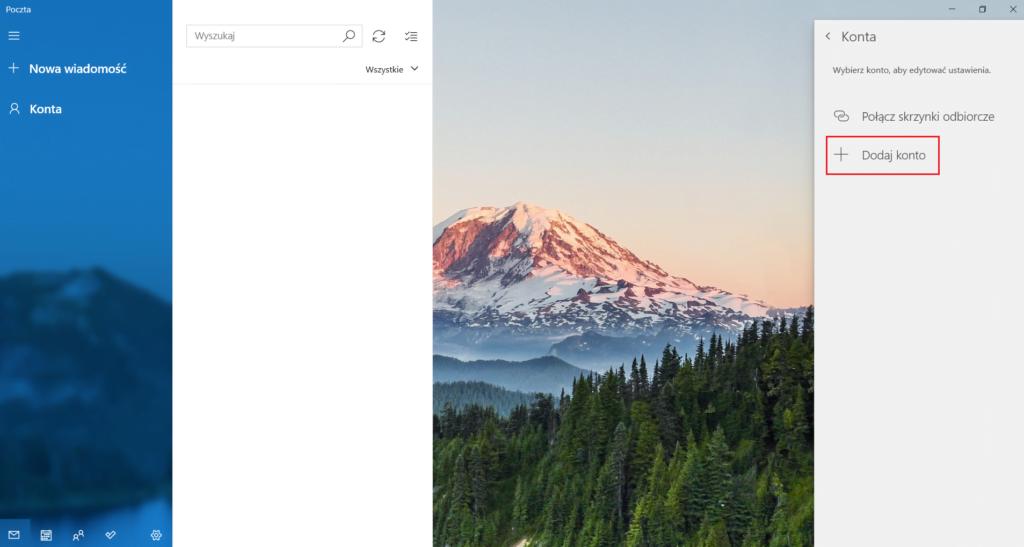 Dodawanie konta e-mail w aplikacji Poczta w Windows 10
