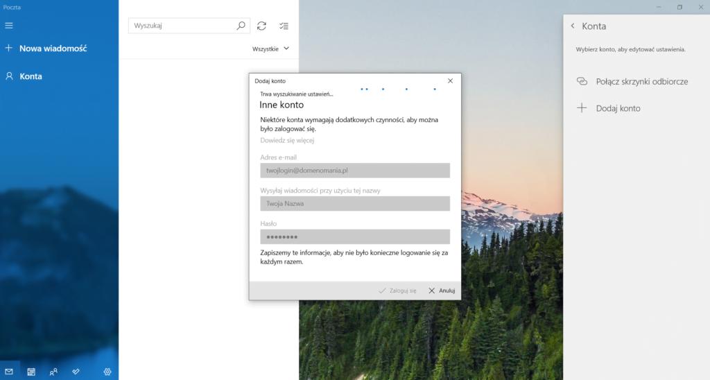 Wyszukiwanie ustawień poczty w Windows 10