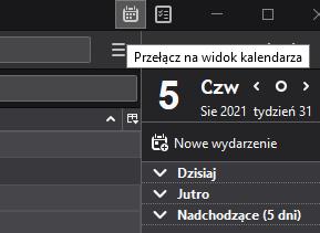 W programie pocztowym Mozilla Thunderbird wybierz opcję przełącz na widok zadań