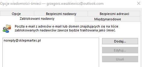 Możesz w dowolnej chwili edytować listę zablokowanych kontaktów w Outlook
