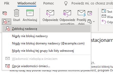 Na pasku nawigacji znajdziesz wiele opcji obsługi wiadomości w tym Zablokuj nadawcę w sekcji Usuń