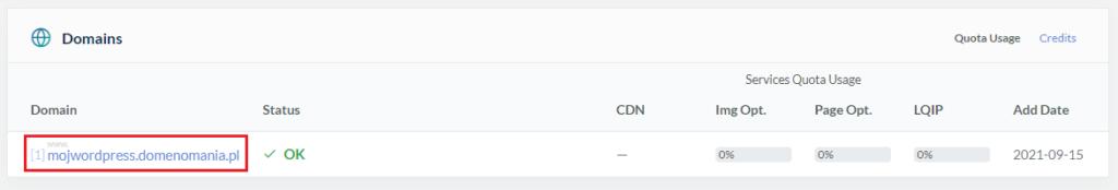 Jak aktywować CDN w QUIC.cloud dla wybranej domeny?