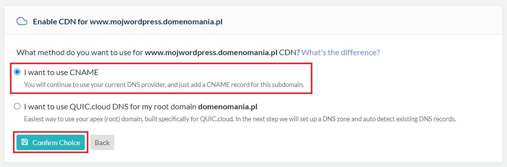 Jak zweryfikować domenę dla usługi CDN QUIC.cloud?