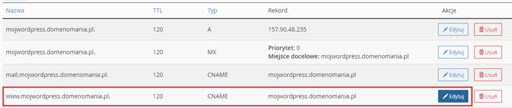 Jak edytować CNAME w cPanel?