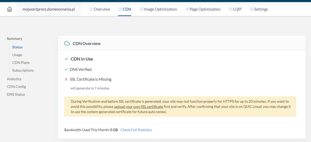 Jak wygląda weryfikacja ustawień domeny i generowanie SSL w QUIC.cloud?