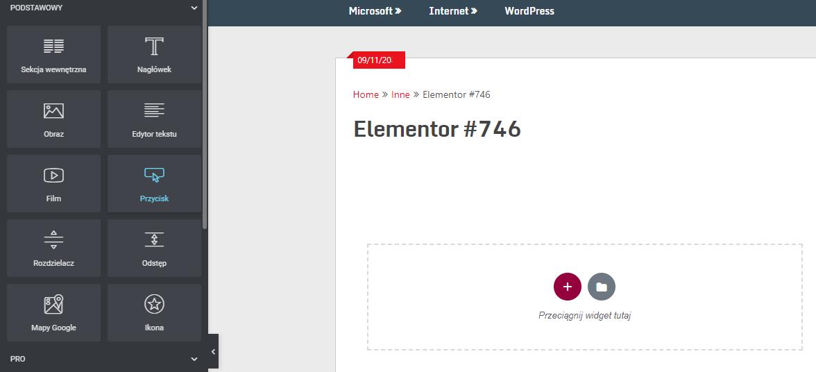 Panel Elementor pozwala w łatwy sposób dodawać nowe elementy do strony internetowej