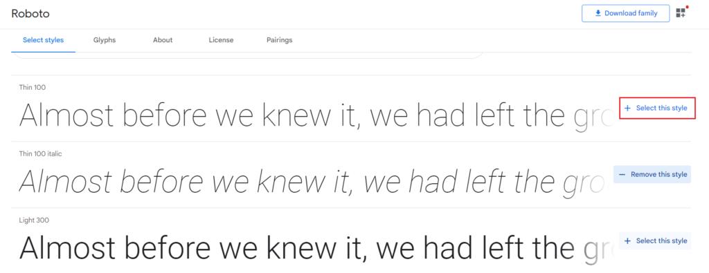 Jak pobrać konkretny styl czcionki Google?
