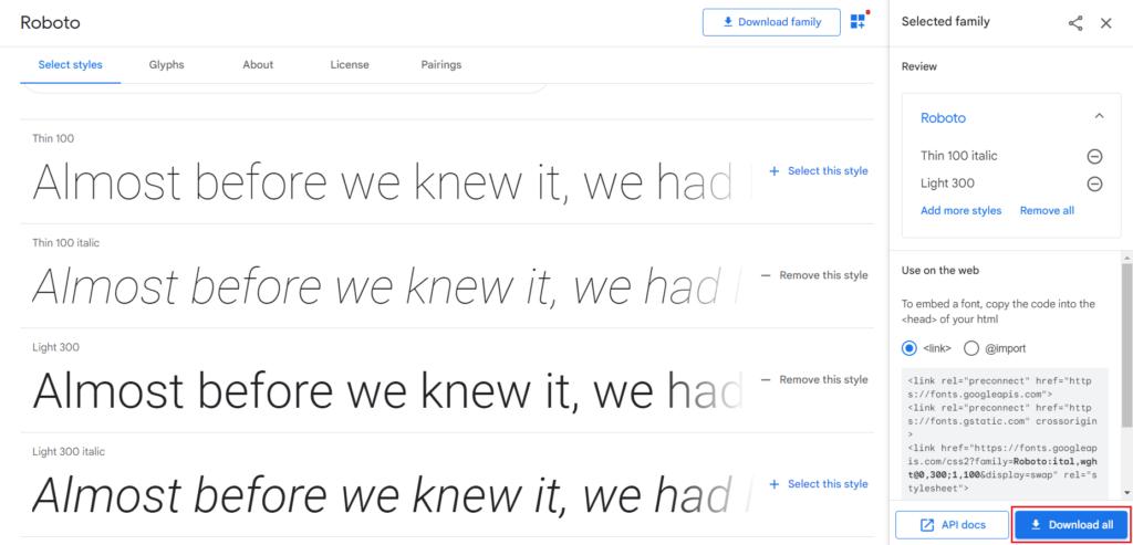 Jak pobrać wybrane style Google Fonts?