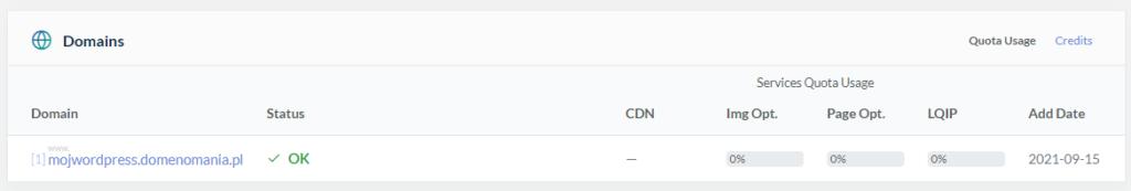 Czy witryna jest poprawnie połączona z QUIC.cloud?