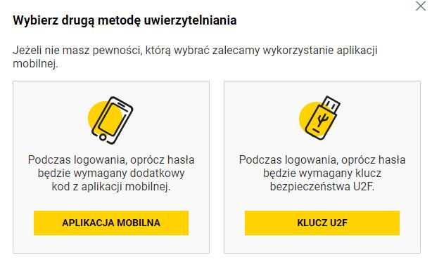 Wybierz drugą metodą weryfikacji, np. aplikacja mobilna lub klucz U2F