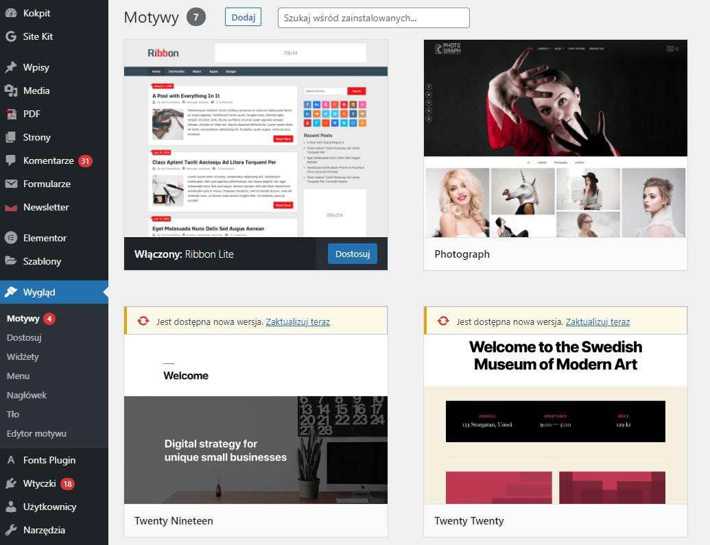 Przywróć domyślny szablon dla WordPress